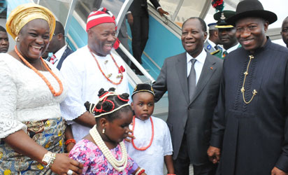 From Left: Mrs Ekaete Akpabio; Gov. Godswill Akpabio; President John Mahama of Ghana and  President Goodluck Jonathan, at Akwa Ibom Airport during the inauguration of Akwa Ibom International Stadium Complex in Uyo /Nan