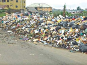 Mountain of refuse in one of the affected areas.