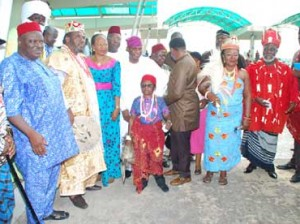 L-R- DG of CBAAC Sir Ferdinand Anikwe, Pete Edochie and other Nollywood stars  cultural festival in Yenagoa