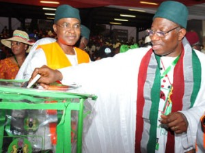 President Goodluck Jonathan casting his vote during the Special Convention at the Eagle Square, Abuja.