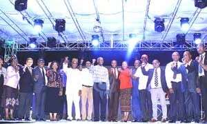Governor Babatunde Fashola of Lagos State, members of the state executive council and the sponsors of the Lagos Countdown 2014 at the Lagos Countdown Festival of Light held on Monday at the Bar Beach, Lagos.