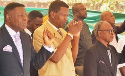 Left Pastor Oyitso Brown, Pastor in Charge of Province 23 Gbagada, Pastor Enoch Adejare Adeboye, General Overseer of the Redeemed Christian  Church of God  [RCCG], Uncle Sam Amuka, Publisher of Vanguard Newspaper, Mr Gbenga Adefaye, General Manager Publication/ Editor-in-Chief Vanguard Newspaper during the 2014, Vanguard Media Christian Fellowship End of the Year, on Thursday 18-12-2014, at Vanguard Premises, Apapa, Lagos Photo; Kehinde Gbadamosi