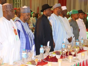 PDP FUND From left Senate President Senator David Mark, Vice President Arc. Namadi Sambo President Goodluck Jonathan, National Chairman of Peoples Democratic Party PDP Alh. Adamu Muazu, Chairman  PDP Board of Trustee Chief Tony Anineh , Deputy Speaker Chief Emeka Ihedioaha and the Party Deputy National Chairman Prince  Uche Secondus  at  for the Party Fund Raising Dinner at the State House Abuja Saturday 20th 12 2014 STATE HOUSE PHOTOS