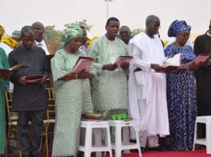 From right: GEN. Mohamodu Buhari, Presidential Candidate of All Progressives Congress[APC], Dame Abimbola Fashola, first lady of Lagos, Gov, Babatunde Fashola of Lagos state, Pastor Enoch Adeboye, General overseer of RCCG, his wife Pastor Folu, Prof. Yemi Osibajo and his wife Dolapo, during the Lagos state Government 2015 Annual Thanksgiving service, held in Alausa, Lagos. Photo: Bunmi Azeez