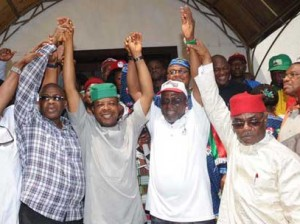 presentation: From left, former Governor of Imo State, Chief Ikedi Ohakim; Deputy Speaker and PDP Governorship Candidate in Imo State, Hon. Emeka Ihedioha, his running mate, Hon. Chuma Nnaji, and Chief Ozichukwu Chukwu, during the presentation of Ihedioha to the people of Isiala/Ehime Mbano Local Government Area, by Chief Ikedi Ohakim, yesterday.