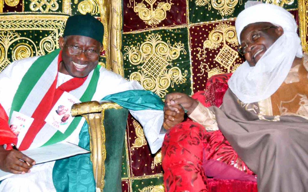 Photo: Jonathan visits late president Yar' Adua's mother, emir ...