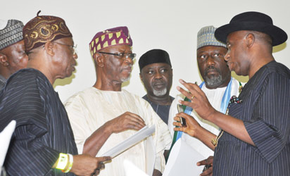 APC Joint Leadership Meeting:  From left, National Publicity Secretary of APC Alh. Mohammed Lai, National Chairman John Oyegun, National Auditor Chief Morgan, Senatorial Candidate of APC, Hon Dino Melayi  and APC Presidential Campaign Organization and River State Governor Rotimi Amechi discussing during APC Joint Leadership Meeting held in Abuja. Photo by Gbemiga Olamikan.