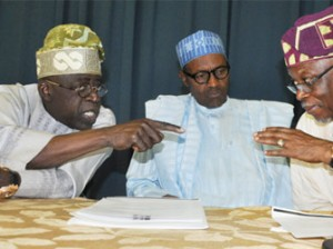 APC Joint Leadership Meeting: From left, APC National Leader Senator Bola Ahmed Tinubu discussing with  APC Presidential Candidate  Gen. Muhammadu Buhari and National Chairman of APC Chief John Oyegun during APC Joint Leadership Meeting held in Abuja. Photo by Gbemiga Olamikan.