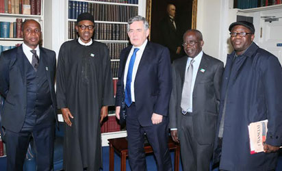 BUHARI AT CHATHAM HOUSE—From left: Governor Rotimi Amaechi of Rivers State; Gen. Muhammadu Buhari (Retd); former British Prime Minister, Gordon Brown; APC national leader, Bola Ahmed Tinubu and former Governor of Ekiti State, Kayode Fayemi at Chatham House, London, yesterday.