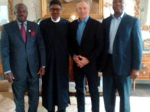 From Left; Gov Amosun of Ogun State, Gen Buhari, Mr. Blair and Sen. Saraki in London.