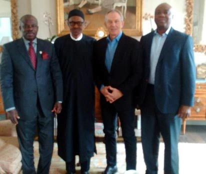 From Left; Gov Amosun of Ogun State, Gen Buhari, Mr. Blair and Sen. Saraki in London.