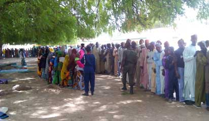 Displaced Chibok people in a camp in Kuje