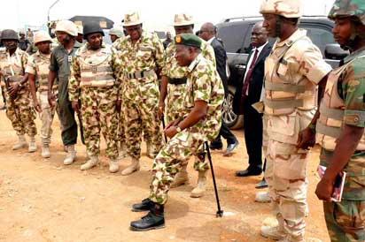 Jonathan visits troops in Baga, Mubi