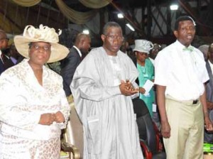 President Jonathan with Pastor & Pastor(Mrs) Adeboye at Holy Ghost Service, Redemption Camp, Friday
