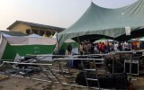 *Upturned canopy, broken equipment at venue of the rally following the attack and stampede