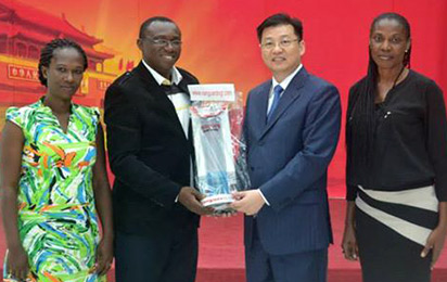 From left;  Prisca Duru,  Vanguard Correspondent; Victor Gotevbe, Vanguard Admin Manager; Mr. Kan Liu , Consul General of the Chinese Embassy, Lagos and Vera Anyagafu, Vanguard Correspondent during a courtesy visit to the Consulate General of China in Lagos.