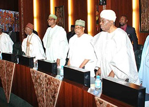 Former Heads of State — Chief Ernest Sonekan, General Ibrahim Babangida, General Muhammadu Buhari, Alhaji Shehu Shagari, General Yakubu Gowon, Alhaji Aminu Tambuwal, Speaker, House of Representatives, and Senate President, David Mark during the National Council of State meeting held at the State House, Abuja, yesterday. Inset: From left: President Goodluck Jonathan, Shagari and Babangida, discussing after the meeting. Photos: Abayomi Adeshida/State House.