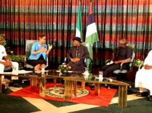 President Jonathan with Ibanga Isine, Adesuwa Onyenokwe, Deji Badmus & Ibrahim Sheme..during a presidential media chat today.