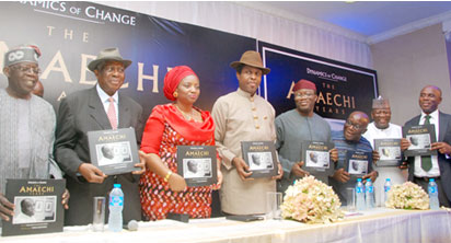 BOOK PRESENTATION—The book, Dynamics of Change, The Amaechi Years was launched, yesterday at the Civic Centre, Victoria Island, Lagos. From left, Asiwaju Bola Ahmed Tinubu, National Leader, Apc; Justice Adolphus Karibi-Whyte, Chairman of occasion; Mrs Judith Amaechi, Mr Tonye Cole, book presenter; Dr Kayode Fayemi, former Governor of Ekiti State; Dr Chidi Amuta, co-editor of the book; Alhaji Abdulazeez Yari, Governor of Zamfara State and Mr Rotimi Amaechi, Governor of Rivers State during the book presentation. Photo: Lamidi Bamidele. More photos on Page 16.