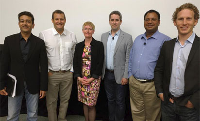 From left: Deepak Advani, General Manager, IBM, Commerce, Blake  Chandlee,Global Partnership, Facebook, Jo Kenrik, Director of Marketing, Homebase, David Walmsley, Director of Marks and Spencer, Ashu Garg, General Partner, Foundation Capital, and Jonah Berger, Associate Professor of Marketing, Whartson School  in a press conference Tuesday in San Diego, the United States of America at the IBM 2015 Amplify conference. Photo by Emeka Aginam