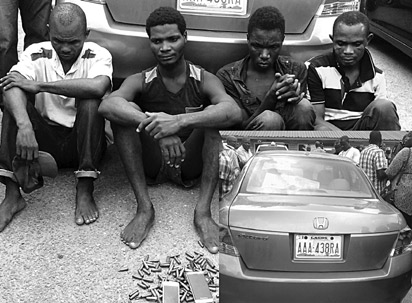 The suspects and the recovered car (inset).