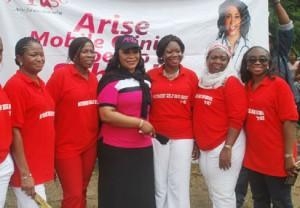 Convener, Arise Women, Mrs. Siju Iluyomade, (3rd left), with Nike Dennis  & Yosola Akinbi (1st & 2nd left);  President, Old Girls, MGHS, Yaba, Anne Olorun-Rinu; Fifelomo Dawodu and Funto Igun - members, Old Girls MGHS, Yaba 79 Set ,during the Arise Women Mobile Health Clinics outreach to MGHS, Yaba, Lagos, last week. Photo Lamidi Bamidele