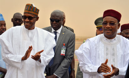 President Mhammadu Buhari and President of Niger Republic, Issoufou Mahamadou while waiting for the Press conference shortly after the bilateral meeting at the presidential palace in Niamey on June 3rd 2015