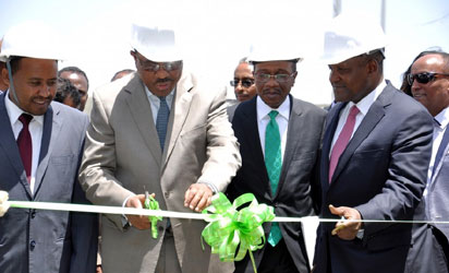 Declaring Dangote Cement plant in the Mugher District of Ethiopia open: Pix shows Prime Minister, Federal Democratic Republic of Ethiopia, Mr. Hailemariam Desalegne, (2nd left); Alhaji Aliko Dangote, right, the Governor, Central Bank of Nigeria (CBN) Mr. Godwin Emefiele, (2nd right);  President of The Oromia National Regional State – His Excellency Ato Muktar Kedir, (left) at the occasion.