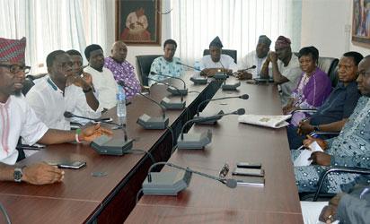 From Left; Hon Fajemilehin Ayodele, Gboyin, Hon Adeniran Alagbada, Ise/Orun, Hon Dr STB Omotoso, Oye 1, Hon Akinleye Ekundayo, Ijero, Hon Akinyele Olatunji, Oye 2,  Hon Olusegun Adewumi, Ekiti West,  Hon Pastor Kola Olwawole, Moba 1, Leader of Delegate, Hon Chief Gboyega Aribisogan, Ikole1, Hon Sina Animasaun, Ekiti West 2, Hon Princess Tiltilayo Owolabi, Ikole2, All are Honurable Member Elect from Ekiti , during the Courtesy visit to Vanguard Newspaper, by Honurable Member Elect from Ekiti State, on wednesday, PHOTOS; Kehinde Gbadamosi