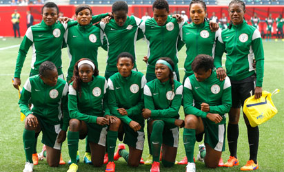 Super Falcons at the FIFA Women's World Cup Canada 2015 Group D match between Sweden and Nigeria at Winnipeg Stadium on June 8, 2015 in Winnipeg, Canada.   Kevin C. Cox/Getty Images/AFP