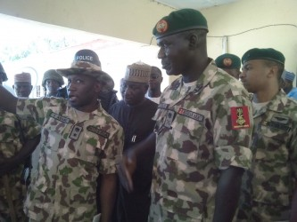 From letf, Chief of Army Staff, Major General Tukur Buratai, Deputy Governor of Borno State, Alhaji Zannah Umar Mustapha and other service Chiefs during the familiarization visit of military formations at Konduga Local Government Area of Borno Maiduguri troubled Borno State yesterday ( Sunday). Photo  by Ndahi Maiduguri