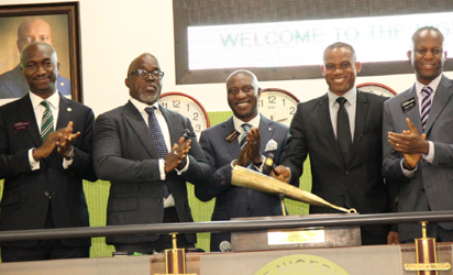 From left: Mr. Bola Adeeko, Head, Corporate Services Division, Nigerian Stock Exchange; Mr. Amaju Melvin Pinnick, President Nigeria Football Federation, Oscar Onyema, CEO, NSE; Sunday Oliseh, Super Eagles coach and Mr. Ade Bajomo, ED, Market Operations and Technology, NSE, at the Closing Gong Ceremony at The Exchange yesterday