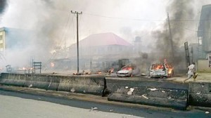 A massive explosion at the Aba-Owerri road Umungasi ,Aba, Abia State, caused by a tanker loaded with gas.