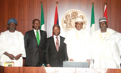 SWEARING-IN—From left: Special Adviser (Media) to the President, Mr. Femi Adesina; National Security Adviser, Major-General Babagana Monguno (retd); Vice President, Professor Yemi Osinbajo; President Muhammadu Buhari and Secretary to the Government of the Federation, SGF, Mr. David Lawal, during the swearing-in of the SGF and two principal officers of the Presidency at the State House, Abuja, yesterday. Photo: Abayomi Adeshida.