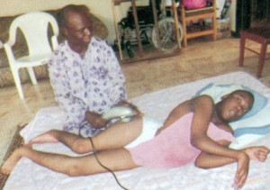 Olaoluwa Gbadebo undergoing physiotherapy