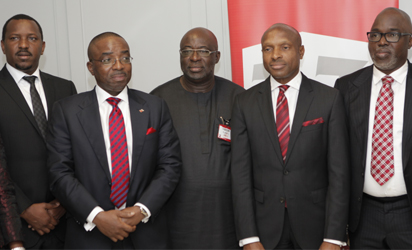 NFF President, Amaju Pinnick with Mr. Peter Amangbo MD/CEO Zenith Bank and others
