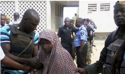 File: A suspected female suicide bomber arrested in Kano in 2014