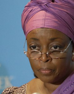 Nigerian petroleum resources minister Diezani Alison-Madueke listens to a question following a speech at the IHS CERAWeek energy conference Tuesday, March 4, 2014, in Houston. (AP Photo/Pat Sullivan)