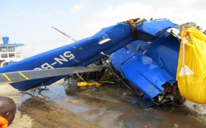 The crashed helicopter