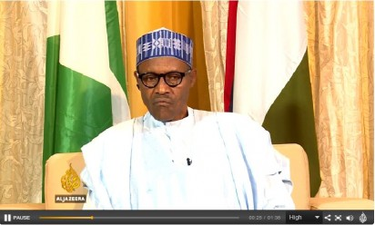Grabbed footage from the video of  exclusive interview President Muhammadu Buhari had with Al Jazeera English's Mehdi Hasan in the tv's wide-ranging and flagship current affairs show, 'UpFront'