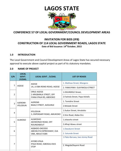Some of the 114 roads to be constructed across the 57 Council Areas in Lagos