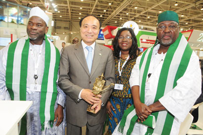 L-R: Nigeria's Amb. to Hunagry, Muhammadu Yunusa;  Secretary General, International Telecommunications Union, Mr. Houlin Zhao; Director, Policy, Competition and Economic Analysis, Nigerian Communications Commission, Ms. Josephine Amuwa and Executive Commissioner, Technical Services, NCC, Engr. Ubale Maska at the opening ceremony of Nigeria Day at the ITU Telecom World 2015 in Budapest, Hungary.