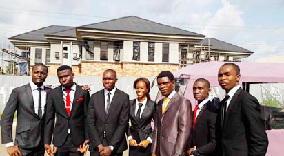 The seven student engineers, from left, Ezeigwe Chitoo, Obinani Victor, Ogbu Thaddeus, Okoro Chinaza, Ezeanolue Ifeanyi, Nwobodo Nnamdi, and Ominigbo Fidelis, under the supervision of  the Head of the department, Dr. C.H. Achebe, constructed the mini bus.