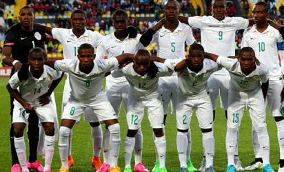 The team of Nigeria lineup before the FIFA U-17 Men's World Cup 2015 group A match between Chile and Nigeria at Estadio Sausalito on October 20, 2015 in Vina del Mar, Chile. FIFA