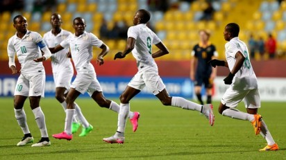Wednesday, 28 October 2015 VINA DEL MAR, CHILE - OCTOBER 28: Victor Osimhen #9 of Nigeria celebrate with his team mates after he scores the opening goal during the FIFA U-17 Men's World Cup 2015 round of 16 match between Nigeria and Australia at Estadio Sausalito on October 28, 2015 in Vina del Mar, Chile. FIFA