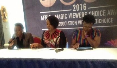 Regional Director for M-Net (West), Wangi Mba-Uzoukwu, Njoki  addressing the press in Kenya