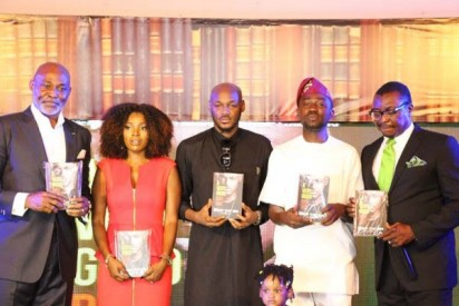 Richard Mofe Damijo, 2face Idibia and wife, Ayeni Adekunle, Alibaba at the book launch.
