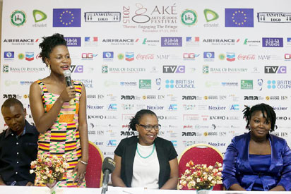 Byenyau Jessica, Mrs Lola Shoneyin and a guest during the press briefing in Lagos