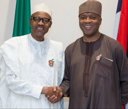 Dinner with Senators 1: President Buhari exchanging compliments with Senate President Bukola Saraki as he hosted Senators to Interactive Dinner at the Presidential Banquet Hall in Statehouse on 25th Nov 2015