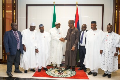 President Buhari with Vice President Prof. Yemi Osinbajo and Senate President Bukola Saraki in a group photo with other leaders of the senate as President Buhari hosted Senators to Interactive Dinner at the Presidential Banquet Hall in Statehouse on 25th Nov 2015